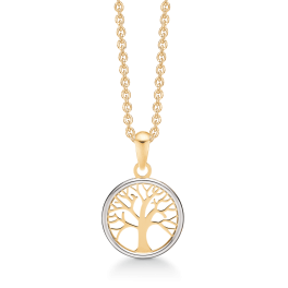 8 kt. guld halskæde livets træ i cirkel. Kæden er sølvforgyldt i længde 42-45 cm.