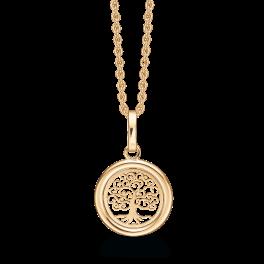 8 kt. guld halskæde cirkel med livets træ. Mål: 13,1 mm. i diameter. Kæden er sølvforgyldt i længde 42-45 cm.