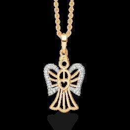 Engel vedhæng i 8 karat guld med cubic zirkonia på vingerne.