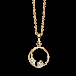 8 kt. guld vedhæng cirkel med buet pind med 3 syntetisk cubic zirconia. Kæden er sølvforgyldt i længde 42-45 cm.