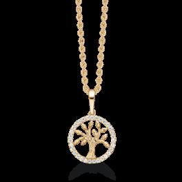 8 kt. guld halskæde livets træ i cirkel med syntetiske cubic zirconia. Kæden er sølvforgyldt i længde 42-45 cm.