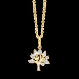 8 kt. guld halskæde livets træ med 8 syntetiske cubic zirconia. Mål 20,06 x 12,77 mm. Kæden er sølvforgyldt i længde 42-45 cm.