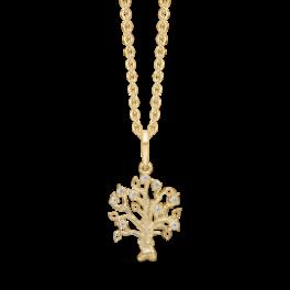 8 kt. guld vedhæng livets træ med syntetiske cubic zirconia. Mål 21,36 x 11,16 mm. Kæden er sølvforgyldt i længde 42-45 cm.