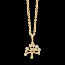 8 kt. guld vedhæng livets træ med syntetiske cubic zirconia. Mål 17,65 x 11,04 mm. Kæden er sølvforgyldt i længde 42-45 cm.