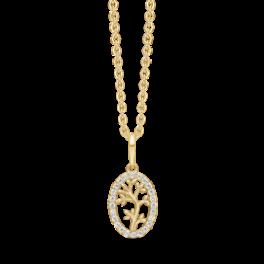 8 kt. guld vedhæng livets træ i oval med syntetiske cubic zirconia. Mål 18,62 x 7,97 mm. Kæden er sølvforgyldt i længde 42-45 cm.