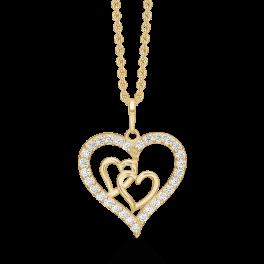 Vedhæng i 8 karat guld med hjerte med dobbelt hjerte inden i.