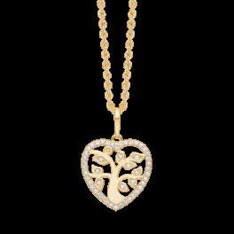 Hjerte vedhæng med livets træ i 8 karat guld med kæde i forgyldt sølv.