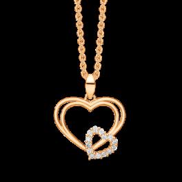 Hjerte vedhæng med to hjerter i 8 karat guld med zirconia stene.