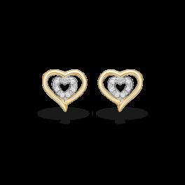 Guld ørestikker i 14 karat guld med dobbelte hjerter 70205030
