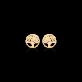 Livets Træ 14 kt. guld ørestikker cirkel med livets træ. Mål 6,63 mm.