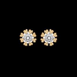 Guld ørestikker i 14 karat guld med zirkonia og 8 greb.