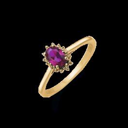 14 kt. guld ring oval rubin og 2 brillanter. Mål: 8,03 x 6,19 mm. Brillant ialt 0,007 ct. w/pk1.
