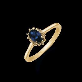 14 kt. guld ring oval safir og 2 brillanter. Mål: 8,03 x 6,19 mm. Brillant ialt 0,007 ct. w/pk1.  (Dette smykke kan købes som sæt)