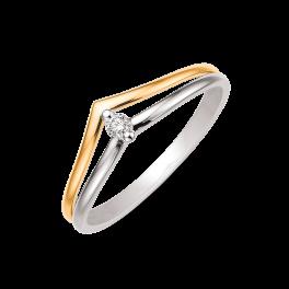 14 kt. rød- og hvidguld ring 2 tråde som buer som v'er Brillant ialt 0,050 ct. w/si (Dette smykke kan købes som sæt)