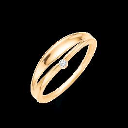 14 kt. guld ring øje med brillant. Brillant ialt 0,03 ct. w/pk1. (Dette smykke kan købes som sæt)