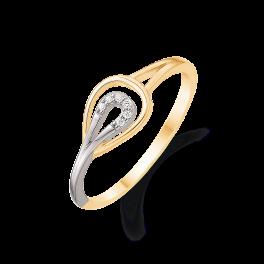 14 kt. rød- og hvidguld ring 2 dråber hvor den inderste er med brillanter Brillant ialt 0,027 ct. w/pk1. (Dette smykke kan købes som sæt)