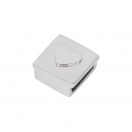 Rhd. Sølv led hjerte firkant TIML 8mm