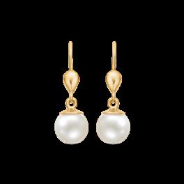 Guld ørehængere i 14 karat guld med kultur perler 73117996