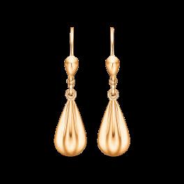 14 kt. guld ørehænger med kantet dråbe.