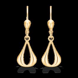 14 kt. guld ørehænger dråbe med hul buttet i siderne.