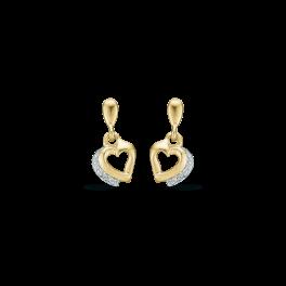 14 kt. guld ørehænger hjerte glat med rhodium og syntetiske cubic zirconia i den ene side på ny kant