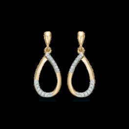 14 kt. guld ørehænger dråbe med syntetiske cubic zirconia forskudt i kanten.