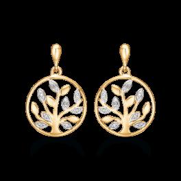 Livets Træ 14 kt. guld ørehænger med brillanter. Brillant ialt 0,053 ct. w/ pk1.