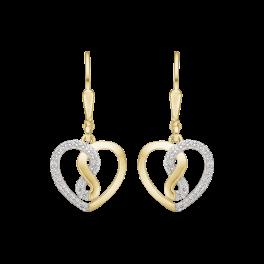 """14 kt. guld ørehænger hjerte med evighedstegn med syntetisk cubic zirconia.""""Infinity"""""""