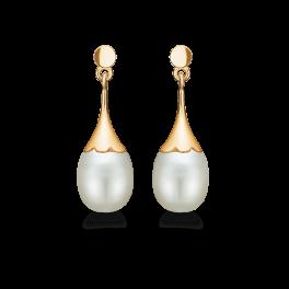 14 kt. guld ørehænger trompet med ferskvandsperle. Mål: 18,94 x 5 mm.