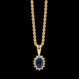 14 kt. guld halskæde oval safir og brillanter. Mål: 9,23 x 6,87 mm. Brillant ialt 0,007 ct. w/pk1. Kæden er sølvforgyldt i længde 42-45 cm. Dette fåes også som smykkesæt (Halskæde, ørestikker & ring)