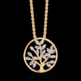 14 kt. guld halskæde livets træ i cirkel med brillanter. Mål: 19 mm. i diameter. Brillant ialt 0,10 ct.w/ pk1. Kæden er sølvforgyldt i længde 42-45 cm.