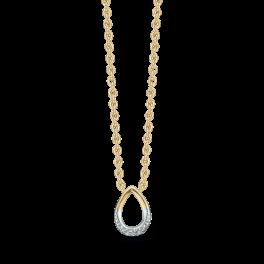 14 kt. guld halskæde dråbe med brillanter. Brillant ialt 0,01 ct. w/pk1. Kæden er sølvforgyldt i længde 42-45 cm. Dette fåes også som smykkesæt (Halskæde, ørestikker & ring)
