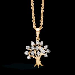 14 kt. guld halskæde livets træ med brillanter. Mål: 17 x 15 mm. Brillant ialt 0,046 ct. w/pk1. Kæden er sølvforgyldt i længde 42-45 cm.