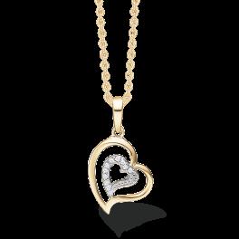 14 karat guld halskæde med zirconia sten