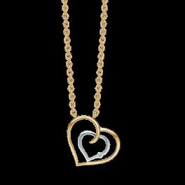 14 kt. guld halskæde dobbelt hjerte. Lille hvidgulds rhodineret hjerte med 1 sten inden i det store hjerte. Brillant ialt 0,010 ct. w/pk1. Kæden er sølvforgyldt i længde 42-45 cm.