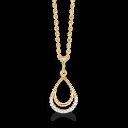 Dråbe vedhæng i 14 karat guld med sølv forgyldt halskæde