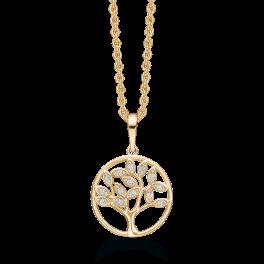 14 kt. guld halskæde livets træ med blade af syntetiske cubic zirconia. Kæden er sølvforgyldt i længde 42-45 cm.