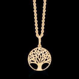 14 kt. guld halskæde cirkel med livets træ. Mål 13,87 mm. Kæden er sølvforgyldt i længde 42-45 cm.