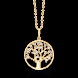 14 kt. guld halskæde cirkel med livets træ og syntetiske cubic zirconia. Mål 13,87 mm. Kæden er sølvforgyldt i længde 42-45 cm.