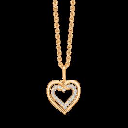 """14 kt. guld halskæde dobbelt hjerte det inderste med syntetiske cubic zirconia i kanten. """"Mor & Barn"""" Mål 11,90 mm x 12,20 mm. Kæden er sølvforgyldt i længde 42-45 cm."""