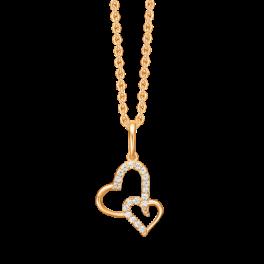 """14 kt. guld halskæde dobbelt hjerte med syntetiske cubic zirconia i halvdelen af begge to.""""Mor & Barn"""" Mål 12,03 x 15,23 mm. Kæden er sølvforgyldt i længde 42-45 cm."""