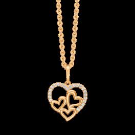"""14 kt. guld halskæde hjerte med syntetiske cubic zirconia i toppen med 3 små hjerter indeni. """"Mor & Barn"""" Mål 13,38 x 14,33 mm. Kæden er sølvforgyldt i længde 42-45 cm."""