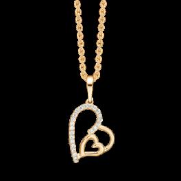 """14 kt. guld halskæde dobbelt hjerte med syntetiske cubic zirconia i den ene side. """"Mor & Barn"""" Mål: 20,83 x 12,93 mm. Kæden er sølvforgyldt i længde 42-45 cm."""