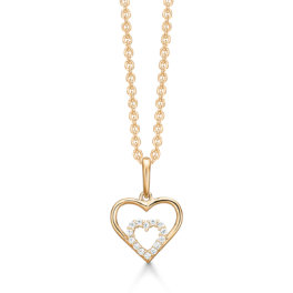 """14 kt. guld halskæde dobbelt hjerte med syntetisk cubic zirconia i hjertet i midten. """"Mor & Barn"""" Mål:16,38 x 10,92 mm. Kæden er sølvforgyldt i længde 42-45 cm."""