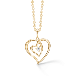 """14 kt. guld halskæde dobbelt hjerte af tråd med syntetisk cubic zirconia. """"Mor & Barn"""" Kæden er sølvforgyldt i længde 42-45 cm."""