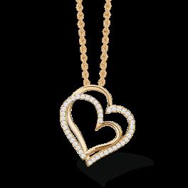 """14 kt. guld halskæde skæv dobbelt hjerte med syntetiske cubic zirconia. """"Mor & Barn"""" Mål: 19,63 x 18,34 mm. Kæden er sølvforgyldt i længde 42-45 cm."""