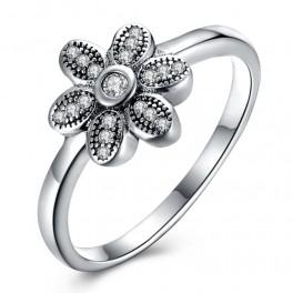 Sølv ring med blomst og zirconia