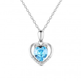 Sølv halskæde med hjerte vedhæng med zirconia stene og blå østrigsk krystal.