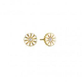 Marguerit ørestikker forgyldt sølv 7,5 mm, med zirkonia