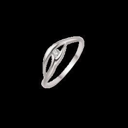 8 kt. hvidguld ring 3 buer med synt. cubic zirconia